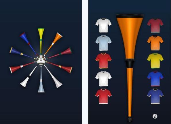 Trikotfarbe wählen und jubeln – mit der Vuvuzela App immer und überall.